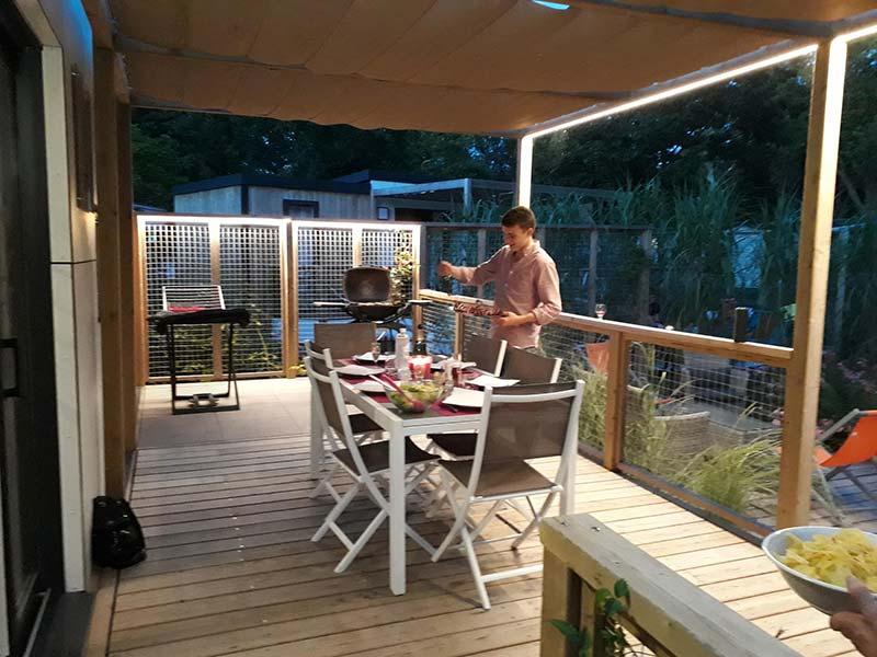 la terrasse du mobilhome en Vendée